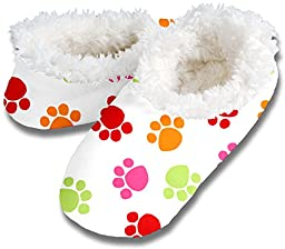 Snoozies Paw Print Fleece Lined Womens Footies, Multi-Colored, Small