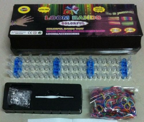 Loom Bands Kit, Includes Loom, Hook, 600 Mixed Color Bands + 25 S Clips / Includes Easy to Follow Instructions / Compare to Rainbow Loom Bracelet Rubber Band Kit