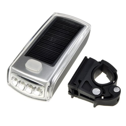 BestDealUSA Bicycle 4 Led Solar and USB 2.0 Rechargeable Headlight