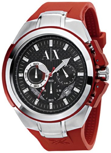 Armani Exchange Men's AX1040 Red Rubber Quartz Watch with Black Dial