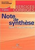 echange, troc Michel Deyra, Christine Bertrand - Note de synthèse, tome 1, exercices et corrigés, 3e édition