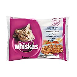 Whiskas Wet Meal Adult Cat Food Multipouch Tuna, Cod, Prawn & Salmon, 400 g (Small Pack)
