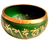Tibetan Meditation Buddhist Bell Brass Green Singing Bowl With Mallet RS-bowl003