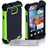 Dual Combo Grip Back Silicone Gel Case Hard / Soft Cover For The Samsung Galaxy S2 i9100 Green / Black With Screen Protector Film And Grey Micro-Fibre Polishing Cloth