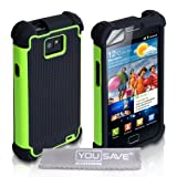 Dual Combo Grip Back Silicone Gel Case Hard / Soft Cover For The Samsung Galaxy S2 i9100 Green / Black With Screen Protector Film And Grey Micro-Fibre Polishing Clothby Yousave