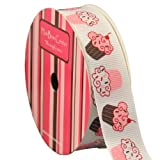 "7/8"" Chocolate Cupcake Print Grosgrain Ribbon 10 yard Reel"