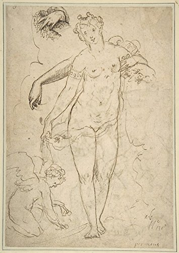 """Standing Nude Female and Putto with Studies of a Hand and an Arm (recto); Satyrs destroying a Female Herm (verso) Poster Print by Anonymous, Italian, 16th century (Italian, active Central Italy, ca. 1550â€""""1580) (18 x 24)"""