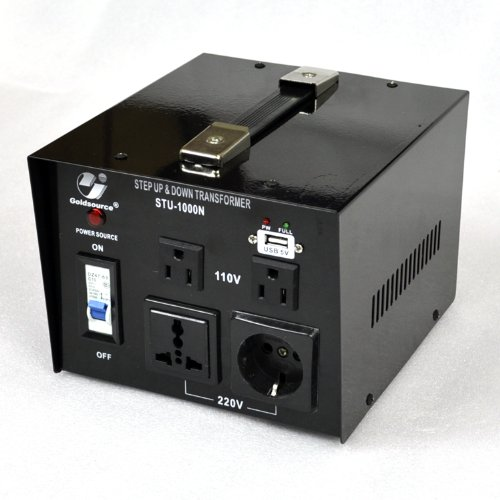 Goldsource STU-N Series 1000 W Heavy-duty AC 110/220V Step Up / Down Voltage Transformer / Converter with US Standard, Universal, German/French Schuko AC Outlets & DC 5V USB Port - 1,000 Watt (1000 Watt Transformer compare prices)