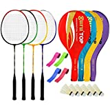 Guru PROBR09 Series-COMBO-2 Badminton Racquets Set Pack Of Four With Four Cover Six Shuttlecock & Four Hand Grip...