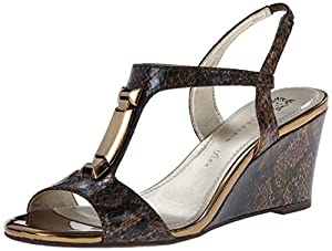 AK Anne Klein Women's Edlynn Synthetic Wedge Sandal, Bronze, 5 M US