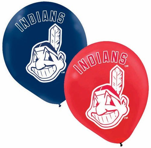 "Amscan Cleveland Indians Major League Baseball Printed Latex Party Balloons, 12"", Blue/Red"