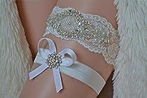 Wedding Bridal Garter Set White Ivory Lace Heirloom Ivory XS