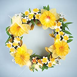 Lighted Floral Spring Daffodil Wreath