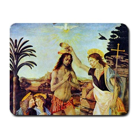 The Baptism Of Christ By Leonardo Da Vinci Mouse Pad front-1061529