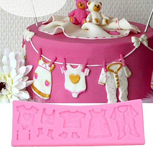 CkeyiN ® Vêtements bébés - moule à gâteau Fondant en silicone, Outil de décoration de gâteau (coloris aléatoire)