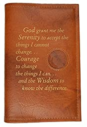 Alcoholics Anonymous AA 12 Steps & 12 Traditions Book Cover Serenity Prayer & Medallion Holder Tan
