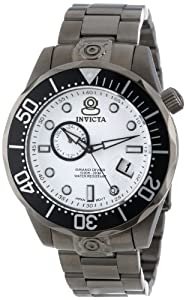 Invicta Men's 13701 Pro Diver Automatic White Textured Dial Gunmetal Ion-Plated Stainless Steel Watch
