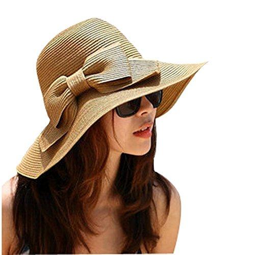 TININNA Floppy Bowknot Wide Brim Straw Sun Hat Cap Beach Sun Visor for Women Ladies Coffee