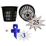 Cz Garden Supply 25 Pack - 3 inch Round Heavy Duty Net Cups Pots Wide Lip Design - Orchids Aquaponics Aquaculture Hydroponics Wide Mouth Mason Jars Slotted Mesh