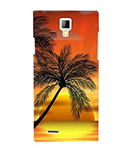 printtech Palm Trees Sunset Back Case Cover for Micromax A99 Canvas Xpress