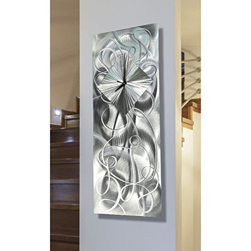 Modern Contemporary All Natural Silver Hand-Crafted Clock Sculpture - Abstract Metal Home Office Decor Wall Accent Art - Light Source by Jon Allen - 24-inch