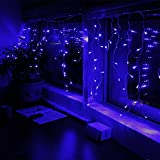 11ft 120LEDs Extendable Blue LED Icicle Lights - 8 Work Modes Icicle Christmas Lights for Xmas - Holiday - Wedding - Party - Event Decorative Lighting