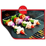 Quiseen BBQ Grill Mat - Set of 2 Mats - PFOA free - High Quality, Thick, Durable, Non-Stick, Heat Resistant and Dishwasher Safe
