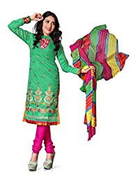 krizel Jasmine C-Green Chanderi Unstitched Straight Salwar Suit Dress Material