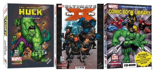 Marvel Comics 3 Pack Bundle - Hulk, Ultimate X-Men & Marvel Comicbook Library Collectors Editions On Cd-Rom And Dvd-Rom back-918498