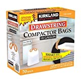 Kirkland Signature Compactor Kitchen Trash Bag with Gripping Drawstring Secure 18 Gallon 70 ct Smart Fit Gripping Drawstring Garbage Bin
