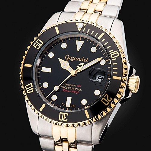 Gigandet Automatik Herren-Armbanduhr Sea Ground Taucheruhr Uhr Datum Analog Edelstahlarmband Schwarz Gold G2-016 3