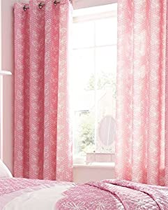 """Kids Pink Cream Butterflies And Hearts 66"""" X 72"""" Ring Top Lined Curtain Drapes by Curtains"""