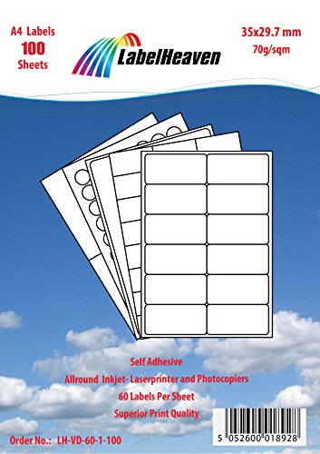 Labelheaven LH-VD-60-1-10, 560 Stück (10 Blatt A4) Universal-Etiketten 35x29.7 mm, selbstklebend, mittelstark klebend, 70g/qm, geeignet für Inkjet- und Laserdrucker.
