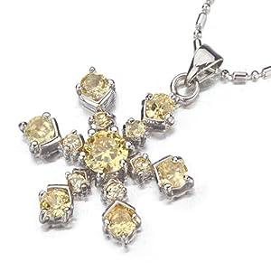 Pugster Shinning Khaki Snowflake Pendant Necklace