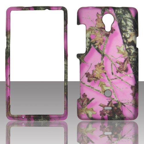 Pink Camo Leaves 2D Rubberized Design For Sony Ericsson Xperia Tl Lt30At Cell Phone Snap-On Hard Protective Case Cover Skin Faceplates Protector