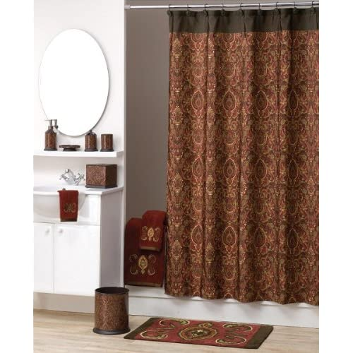 Amazon Persia Fabric Shower Curtain Maroon & Brown