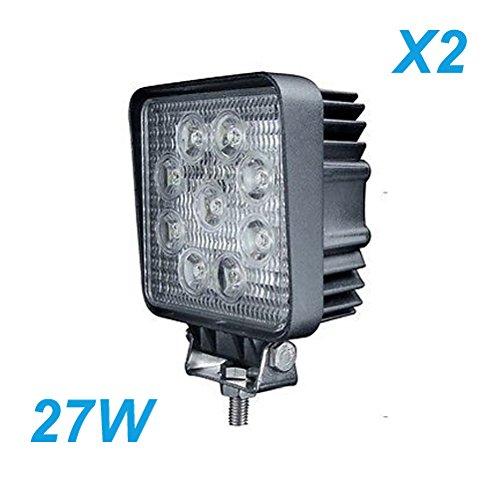 2 Pcs Led Lights Square 27Watt Led Work Lamp Light 1755 Lumen Atv Off Road
