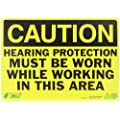 """Zing Eco Safety Sign, Header """"CAUTION"""", """"HEARING PROTECTION MUST BE WORN WHILE WORKING IN THIS AREA"""", 14"""" Width x 10"""" Length, Recycled Plastic, Black on Yellow (Pack of 1)"""