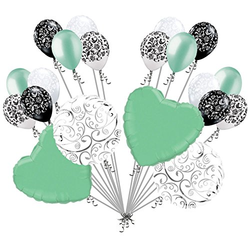 20 pc Mint Green Hearts & Swirls Balloon Bouquet Wedding Baby Shower Bridal