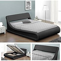 KANSAS Doppelbett Polsterbett mit Gasdruckfeder Bettkasten Bett Lattenrost Kunstleder (180 x 200cm, Schwarz)