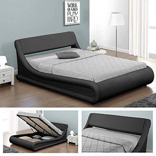 KANSAS-Doppelbett-Polsterbett-mit-Gasdruckfeder-Bettkasten-Bett-Lattenrost-Kunstleder-140-x-200cm-Schwarz