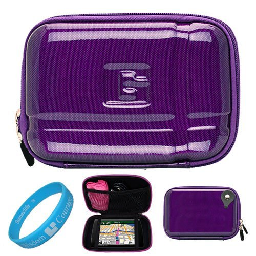 Candy Purple Durable 5.2-inch Protective GPS Carrying Case with Removable Carbineer for Garmin Nuvi 1450LMT / 1490LMT / 2460LMT 5 inch Portable GPS Navigation System + SumacLife TM Wisdom Courage Wristband