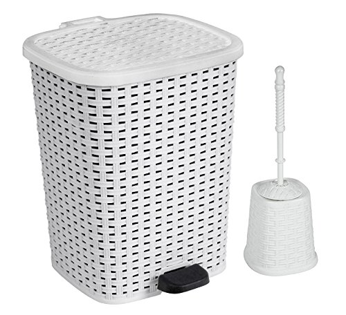 Rattan (Wicker Style) Bathroom Set Toilet Brush and 6 Liter Compact Trash Bin (White) (Wicker Style Trash Can compare prices)