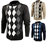 Enimay Mens Argyle Zip Up Golf Long S...