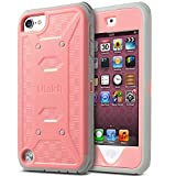 ULAK iPod Touch 6 Case,iPod Touch 5 Case,[KNOX ARMOR] Dual Layer Hybrid Protective Cover with Belt Clip Holster  - Retail Packaging - Baby pink