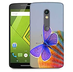 Snoogg Purple Butterfly Designer Protective Phone Back Case Cover For Motorola Moto X Play