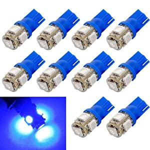 Sannysis 10PC Cool Useful T10 Wedge 5-SMD 5050 Xenon LED Light bulbs 192 168 194 W5W 2825 158 (Blue)