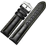 Lemcos  時計ベルト 時計 バンド 交換ベルト 本革ベルト 腕時計ストラップ クラシカルな雰囲気の尾錠 ワンタッチで装着簡単 アダプター付き 時計 ベルト 20mm (ブラック)