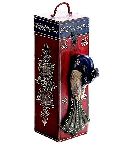 1 Bottle Antique Hand Painted Solid Wooden Wine Box (RED) Peacock Design