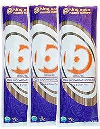 King Soba 3-PACK Gluten Free, Organic 100% Buckwheat Pasta Noodles - Sodium Free, 8.8oz - 3 servings per package